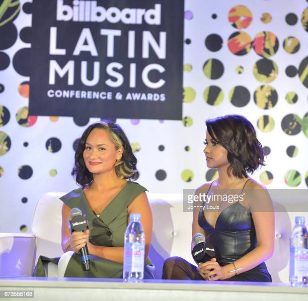Carmen Perez and Becky G during The Billboard Latin Music Conference Awards LATINX Activisim panel at Ritz Carlton South Beach on April 26 2017 in...