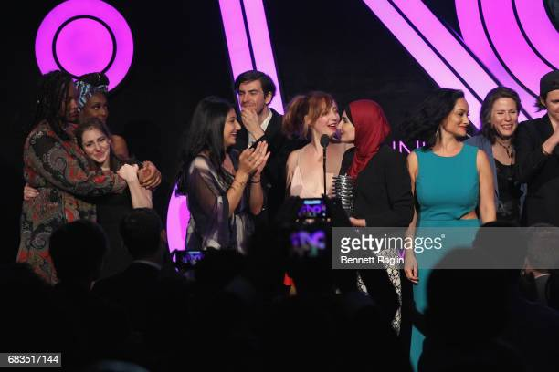 Carmen Perez Bob Bland Linda Sarsour CoChairs of The Women's March accept an award onstage at the The 21st Annual Webby Awards at Cipriani Wall...