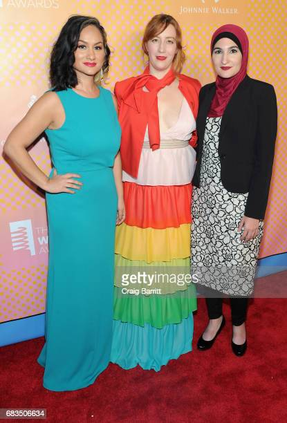 Carmen Perez Bob Bland Linda Sarsour CoChairs of The Women's March attend The 21st Annual Webby Awards with specialty cocktails provided by Johnnie...