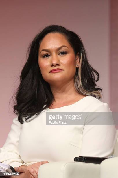 Carmen Perez National cochair of Women's March speaks at the The Womens Convention at Cobo Center on 29th October 2017 in Detroit Michigan