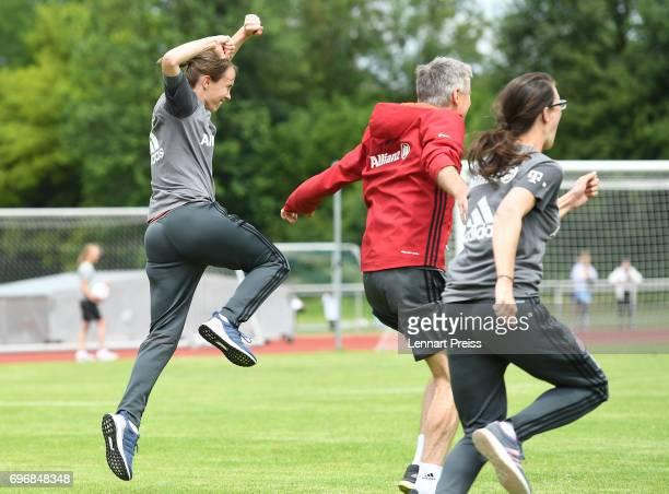 Carmen Roth head coach of FC Bayern Muenchen and her team celebrate winning the B Junior Girl's German Championship Final against 1 FFC Turbine...