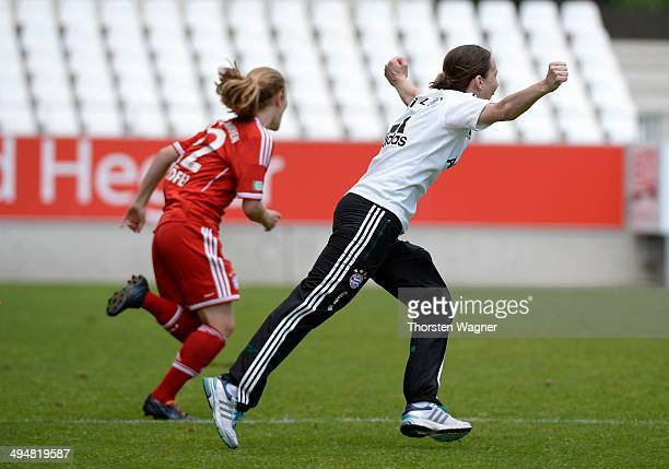 Carmen Roth of Muenchen celebrates after winning the girls bjunior final match between FC Bayern Muenchen and 1FFC Turbine Potsdam at stadium 'An der...