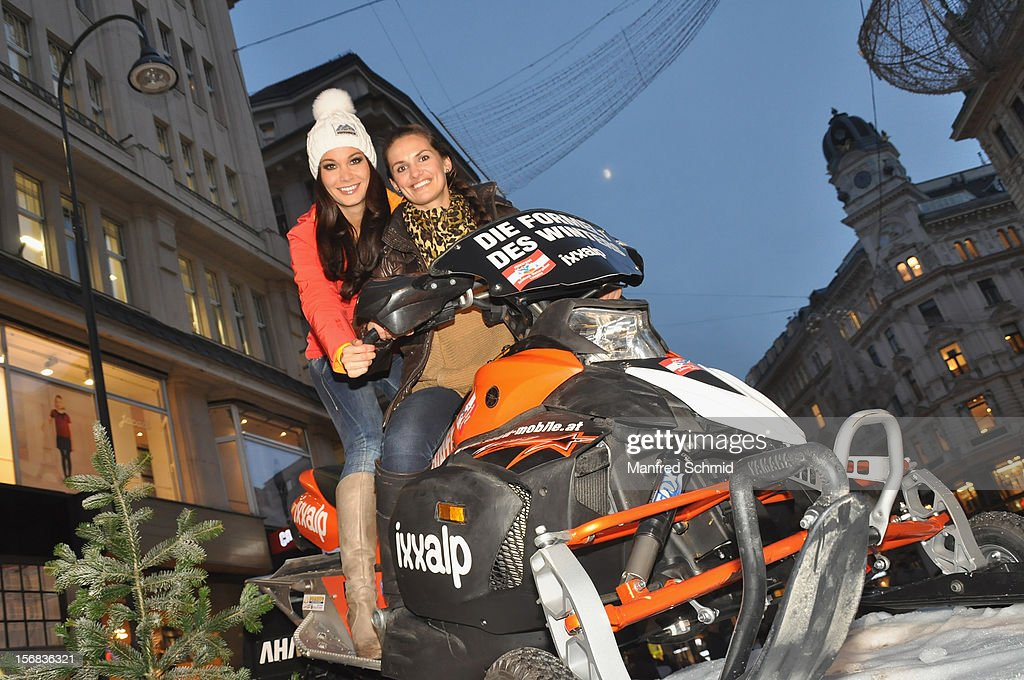 Carmen Stamboli and Tanja Duhovich attend the Swatch Snow Mobile 2012 press conference at Graben on November 22, 2012 in Vienna, Austria.