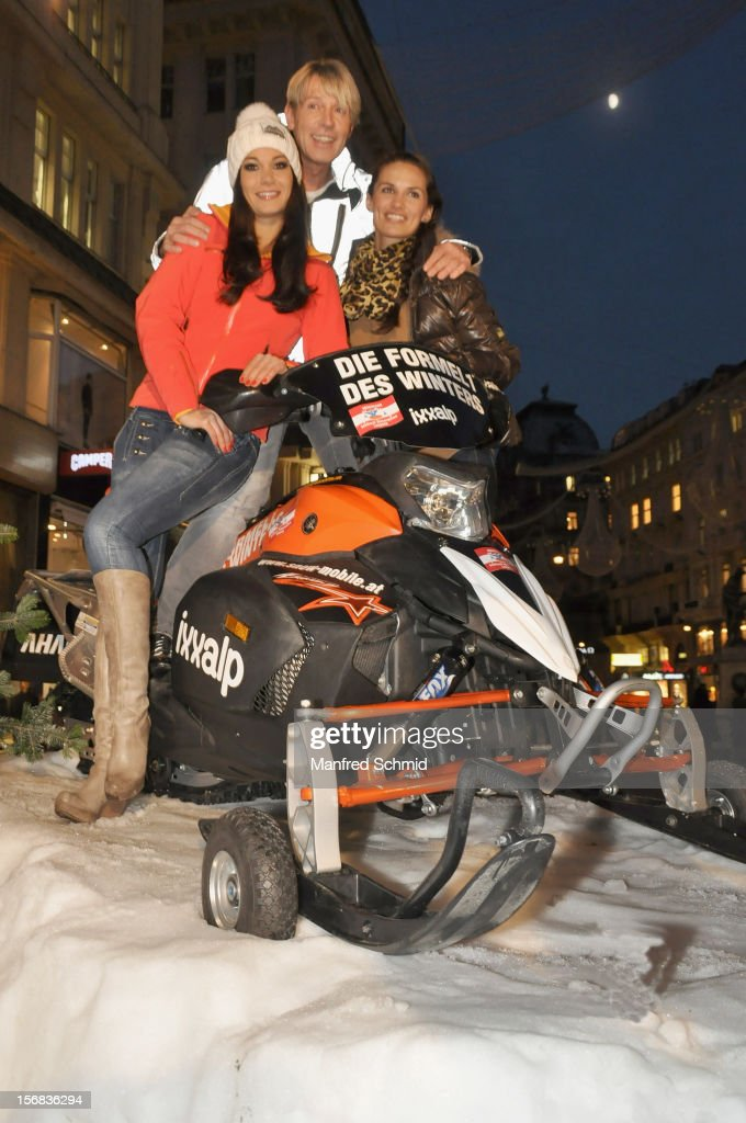 Carmen Stamboli, Dominic Heinzl and Tanja Duhovich attend the Swatch Snow Mobile 2012 press conference at Graben on November 22, 2012 in Vienna, Austria.