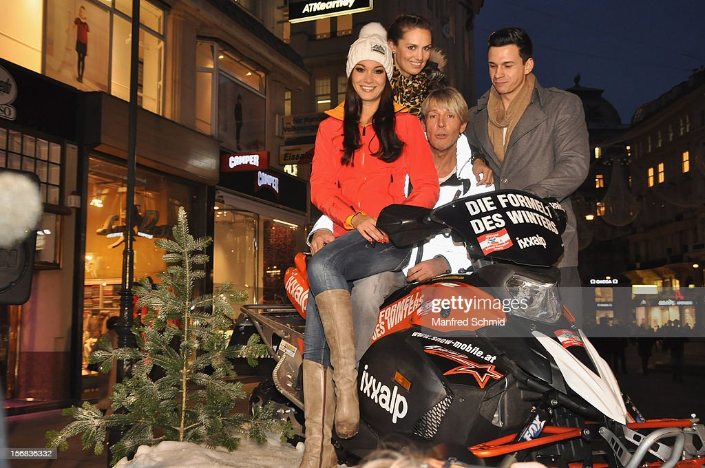 Carmen Stamboli, Tanja Duhovich, Dominic Heinzl and Kurt Kases attend the Swatch Snow Mobile 2012 press conference at Graben on November 22, 2012 in Vienna, Austria.