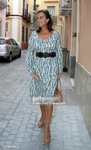 Carmen Tello godmother of the Duchess of Alba's wedding leaves Victorio Luchino atelier after trying on her dresss for Duchess of Alba's wedding at...