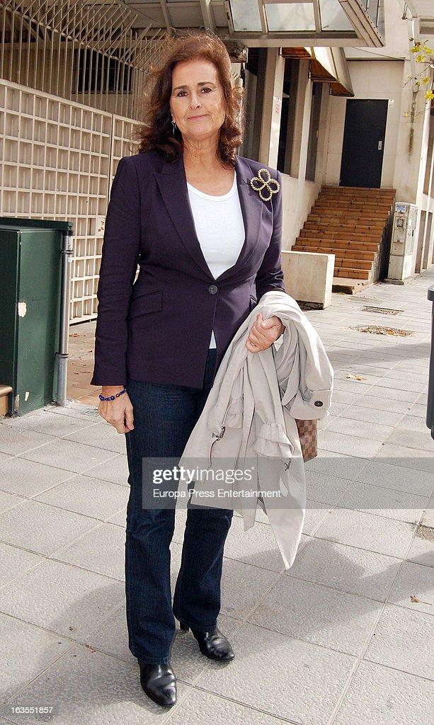 Carmen Tello is seen leaving a restaurant on March 11, 2013 in Seville, Spain.