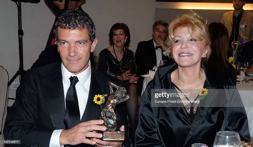 Carmen Thyssen Bornemisza and <a gi-track='captionPersonalityLinkClicked' href=/galleries/search?phrase=Antonio+Banderas&family=editorial&specificpeople=171176 ng-click='$event.stopPropagation()'>Antonio Banderas</a> attend Huella Awards to Club Rotary at Vinci Hotel on March 29, 2012 in Malaga, Spain.