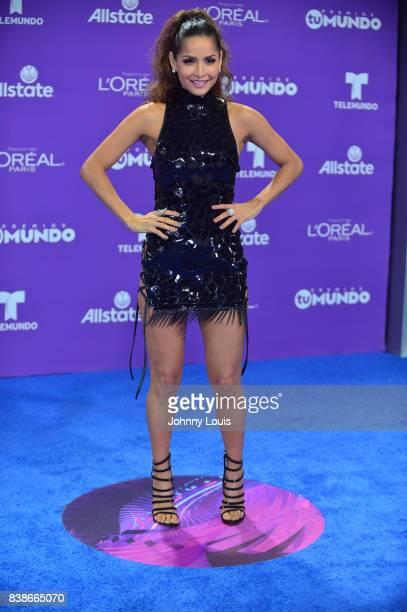 Carmen Villalobos arrives at Telemundo's 2017 'Premios Tu Mundo' at American Airlines Arena on August 24 2017 in Miami Florida