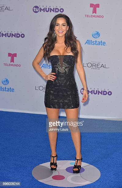 Carmen Villalobos arrives at Telemundo's Premios Tu Mundo 'Your World' Awards at American Airlines Arena on August 25 2016 in Miami Florida