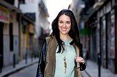 Carmen wears Pikolinos boots Calzedonia tighs Zara shorts Sfera sweater Mango jacket and VAGG handbag on March 23 2015 in Madrid Spain