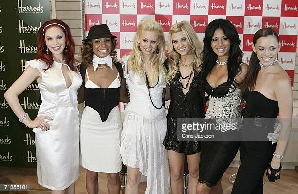 Carmit Bachar Melody Thorton Kimberly Wyatt Ashley Roberts Nicole Scherzinger and Jessica Sutta of The Pussycat Dolls pose for photographers to open...