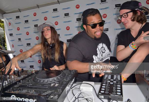 Carnage joins Jahan Yousaf and Rain Man of Krewella live on SiriusXM's 'UMF Radio' at the SiriusXM Music Lounge at W Hotel on March 21 2013 in Miami...