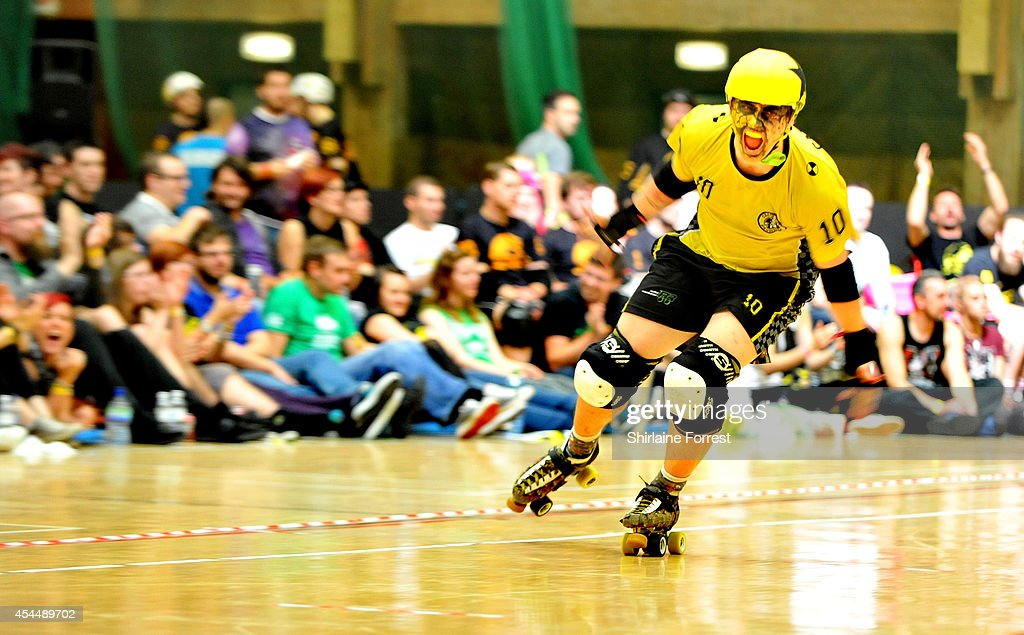 Carnage of Crash Test Brummies bouts in the Men's European Cup roller derby tournament at Walker Activity Dome on August 31, 2014 in Newcastle upon Tyne, England.