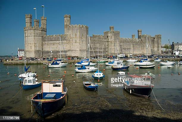 Carnarvon Castle and Harbour in Wales UK