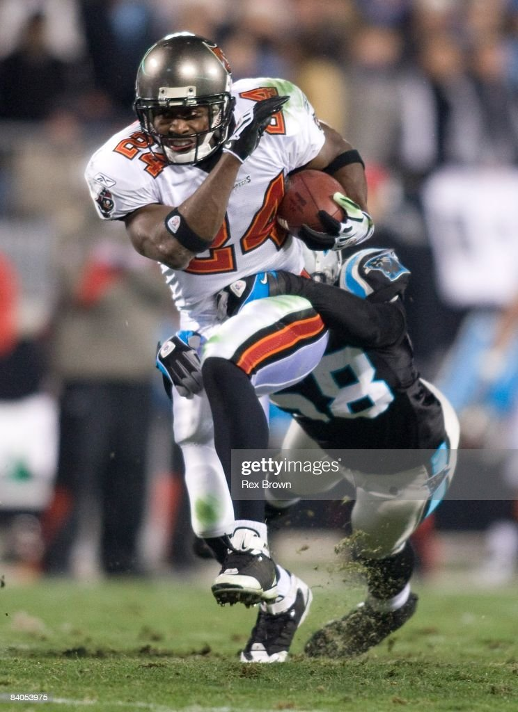Carnell Williams #24 of the Tampa Bay Buccaneers carries the ball against the Carolina Panthers on December 8, 2008 at Bank of America Stadium in Charlotte, North Carolina. Carolina defeated Tampa Bay 38-23.