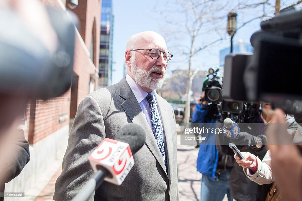 W Carney Jr criminal defense lawyer for Boston gangster Whitey Bulger talks to the media outside the John Joseph Moakley United States Courthouse on...