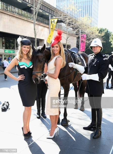 Carnival Ambassadors Sophie Falkiner and Laura Csortan pose at the Sydney Spring Carnival launch at the Australian Turf Club on September 5 2013 in...