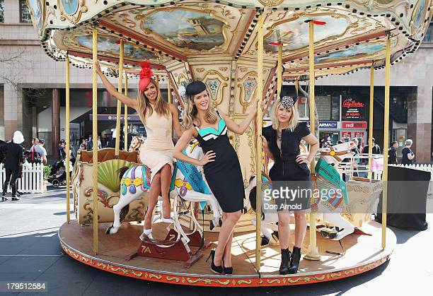 Carnival Ambassadors Sophie Falkiner Laura Csortan and Nerida Winter pose at the Sydney Spring Carnival launch at the Australian Turf Club on...