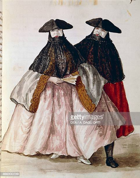 Carnival characters in Venice illustration from the Illustrated book of Venetian costumes by Jan Grevenbroeck watercolour Italy 18th century