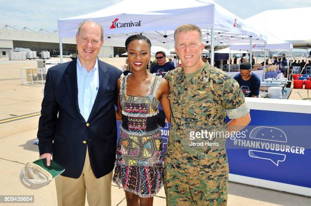 Carnival Cruise Lines Chief Maritime Officer Vice Admiral William Burke Carnival Vista Godmother and former Miss USA Deshauna Barber and MCAS Miramar...