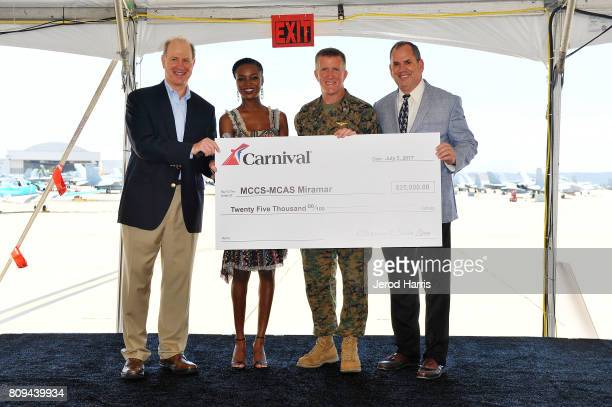 Carnival Cruise Lines Chief Maritime Officer Vice Admiral William Burke Carnival Vista Godmother and former Miss USA Deshauna Barber MCAS Miramar...