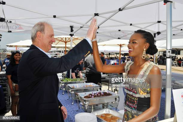 Carnival Cruise Lines Chief Maritime Officer Vice Admiral William Burke and Carnival Vista Godmother and former Miss USA Deshauna Barber attend...