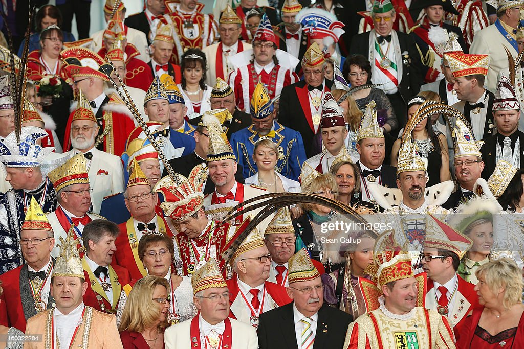 Carnival delegates from all over Germany arrive to meet German Chancellor Angela Merkel in an annual ceremony at the Chancellery on January 29, 2013 in Berlin, Germany. Germany is in the midst of Carnival season, which ends with its highpoint between Rose Monday and Ash Wednesday in a tradition common in several countries in Europe and the Americas.