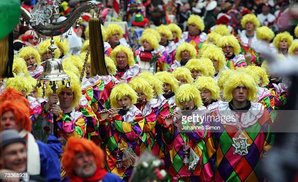 Carnival enthusiasts attend the 'Rose Monday' parade February 19 2007 in Cologne Germany Hundreds of thousands people flood the streets of Cologne...
