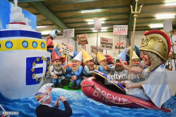 A carnival float featuring the 'Brexit' Great Britain and the relation to the EU pictured during a press preview at the MCV carnival association on...
