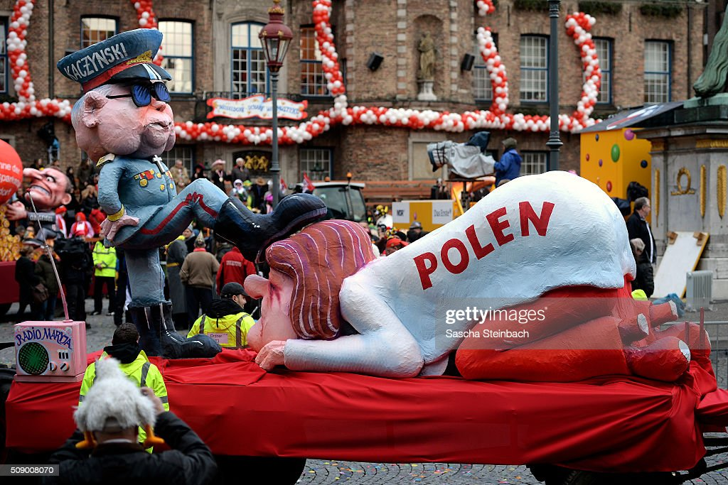 A carnival float featuring the leader of Polish Law and Justice party <a gi-track='captionPersonalityLinkClicked' href=/galleries/search?phrase=Jaroslaw+Kaczynski&family=editorial&specificpeople=576447 ng-click='$event.stopPropagation()'>Jaroslaw Kaczynski</a> oppressing Poland stands on display near city hall on February 8, 2016 in Duesseldorf, Germany. Today's Rose Monday parade, the highlight of western Germany's carnival season, has been cancelled due to weather predictions that include high winds.