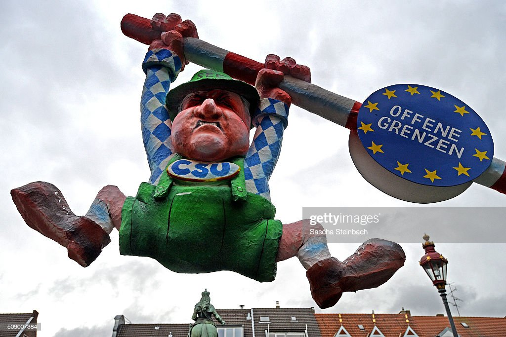 A carnival float mocking Bavarian Governor <a gi-track='captionPersonalityLinkClicked' href=/galleries/search?phrase=Horst+Seehofer&family=editorial&specificpeople=4273631 ng-click='$event.stopPropagation()'>Horst Seehofer</a> stands on display near city hall on February 8, 2016 in Duesseldorf, Germany. Today's Rose Monday parade, the highlight of western Germany's carnival season, has been cancelled due to weather predictions that include high winds.