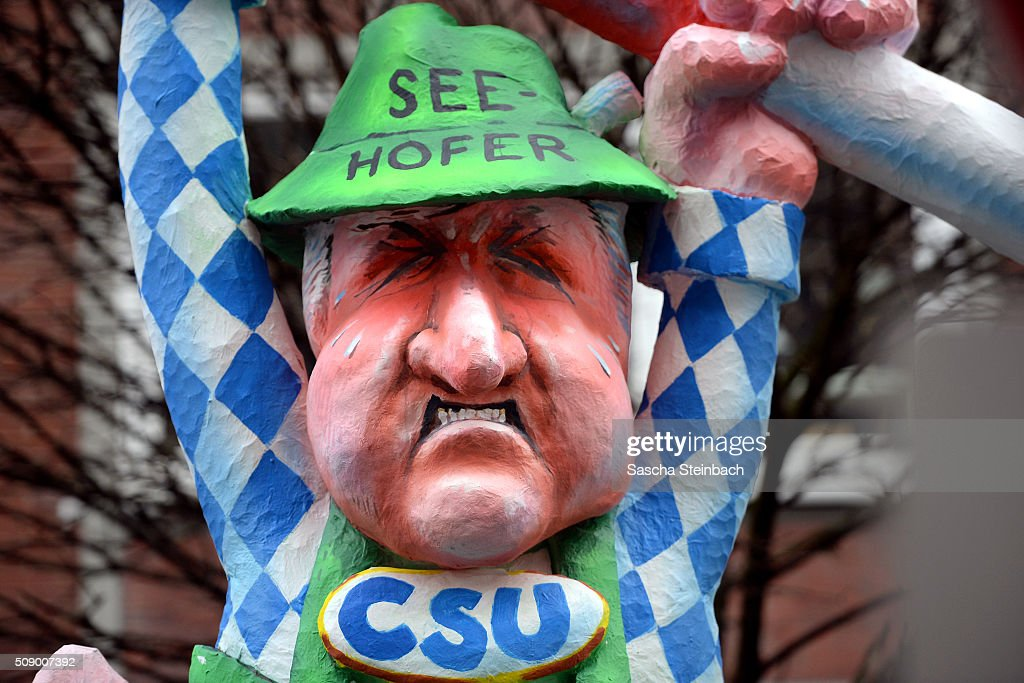 A carnival float mocking Bavarian Governor Horst Seehofer stands on display near city hall on February 8, 2016 in Duesseldorf, Germany. Today's Rose Monday parade, the highlight of western Germany's carnival season, has been cancelled due to weather predictions that include high winds.