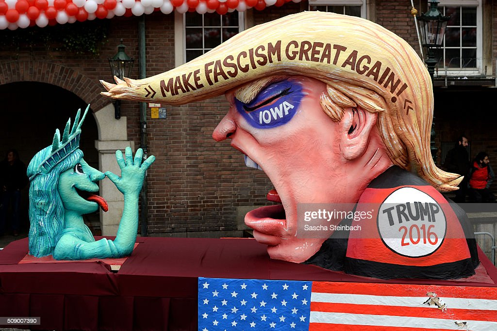A carnival float mocking US Republican presidential candidate Donald Trump stands on display near city hall on February 8, 2016 in Duesseldorf, Germany. Today's Rose Monday parade, the highlight of western Germany's carnival season, has been cancelled due to weather predictions that include high winds.