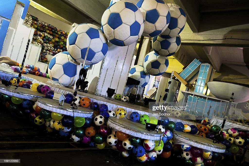 A carnival float of Acadêmicos da Rocinha samba school seen during the construction process inside the workshop in Rio de Janeiro, Brazil, 14 February 2012. The carnival preparations start early in July or August, some 7-8 months before the main samba schools parade at the sambodrome. Samba schools hire teams of professional designers and artists who, according to the original theme selected by the school directors and then featured by the school during the parade, create allegorical floats, costumes, sculptures, music, choreography and the entire school show. However, the most of the everyday work in the carnival hangars is performed by unknown but fully dedicated samba schools members.