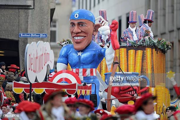 A carnival float showing president of the US Barack Obama as comic hero figure 'Captain America' displaying US financial crisis attends the Rose...