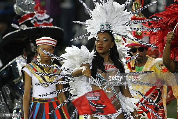 Carnival girl during the Eleventh Match of the Cricket Caribbean Premier League between Trinidad and Tobago Red Steel v Guyana Amazon Warriors at...