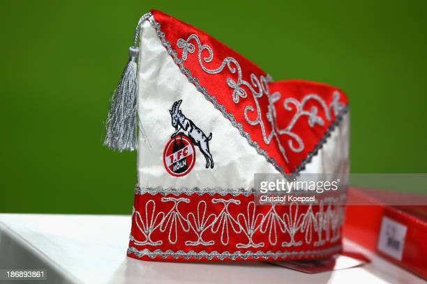 A carnival hat of Koeln is seen prior to the Second Bundesliga match between 1 FC Koeln and 1 FC Union Berlin at RheinEnergieStadion on November 4...