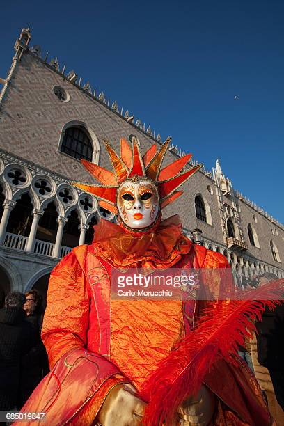 Carnival masks and costumes during Venice Carnival, St. Marks Square, Venice, Veneto, Italy, Europe