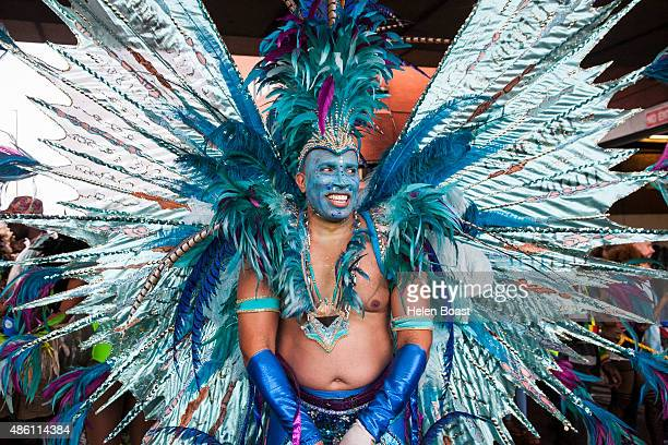 A carnival participant is seen during the Notting Hill Carnival at Notting Hill on August 31 2015 in London England