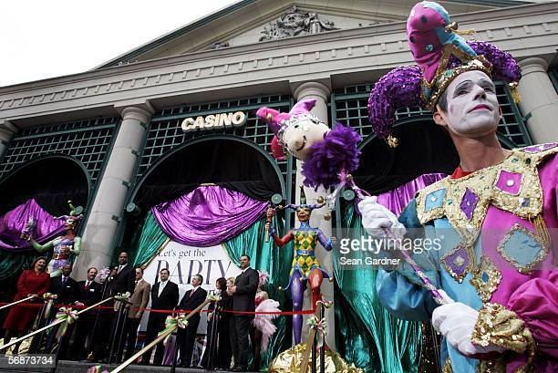 Carnival performers entertain guest at Harrah's Casino in New Orleans Louisiana during the casino's reopening celebration after being closed for over...
