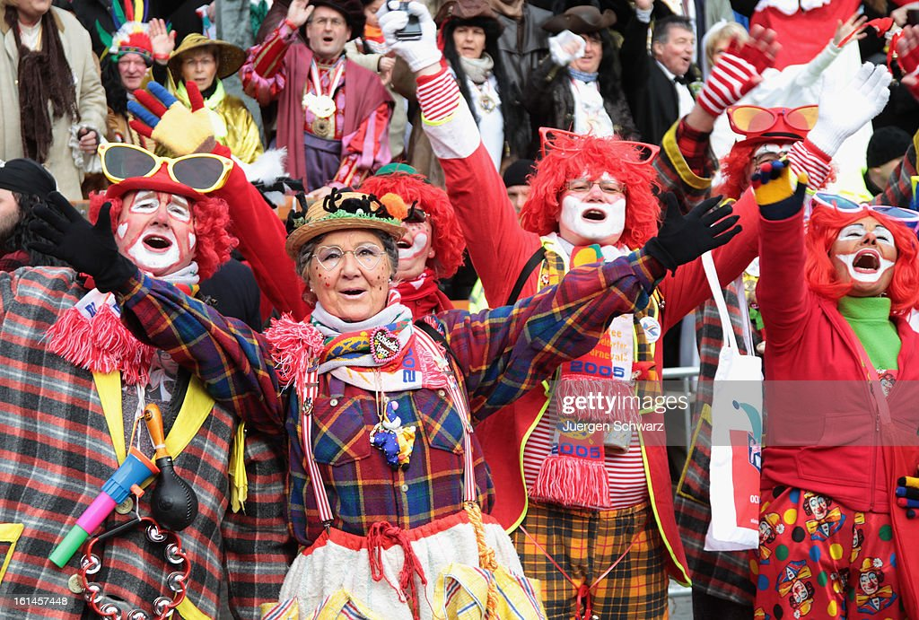 Carnival revelers participate in the annual Rose Monday (Rosenmontag) carnival parade on February 11, 2013 in Dusseldorf, Germany. Rose Monday is the highpoint of the annual carnival season in the region between Mainz, Cologne and Dusseldorf, where carnival has been an annual tradition since 1823 and celebrates free-spirited merrymaking before the beginning of Lent.