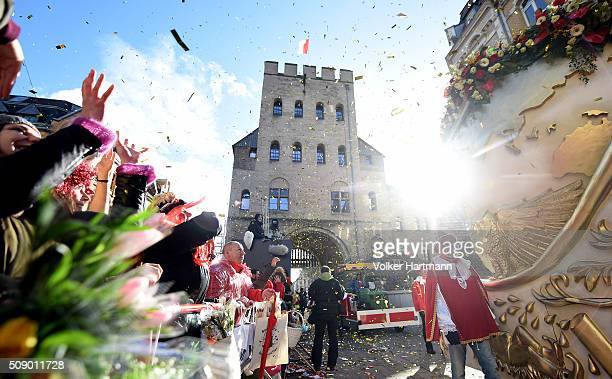 Carnival revellers celebrate during the annual Rose Monday parade on February 8 2016 in Cologne Germany The centuriesold tradition of German carnival...
