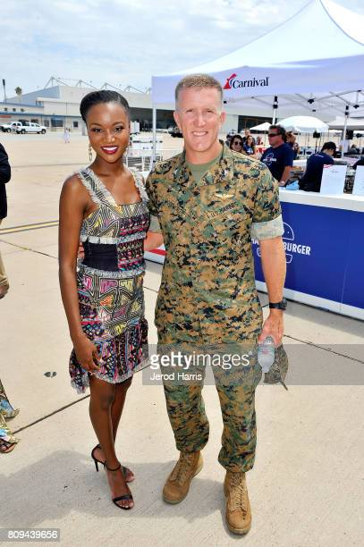 Carnival Vista Godmother and former Miss USA Deshauna Barber and Colonel Jason G Woodworth attends Carnival Cruise Line's First Ever Socially Powered...