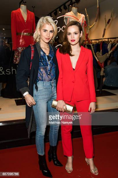 Caro Daur and Emilia Schuele attend the BaSh store opening on March 23 2017 in Berlin Germany