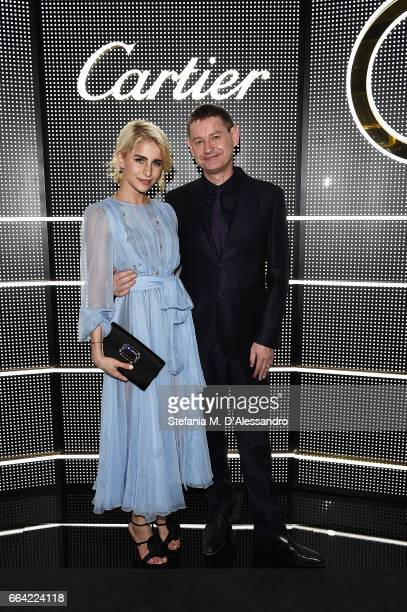Caro Daur and President and CEO Cartier International Cyrille Vigneron attend Cartier Garage Cocktail Party during Milan Design Week 2017 on April 3...