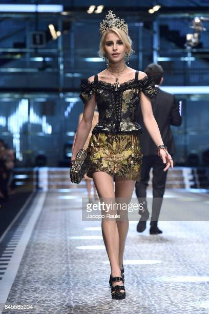Caro Daur walks the runway at the Dolce Gabbana show during Milan Fashion Week Fall/Winter 2017/18 on February 26 2017 in Milan Italy