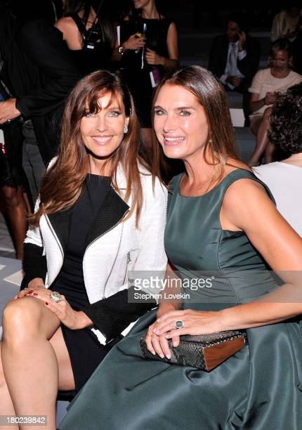 Carol Alt and Brooke Shields attend the Dennis Basso fashion show during MercedesBenz Fashion Week Spring 2014 at The Stage at Lincoln Center on...