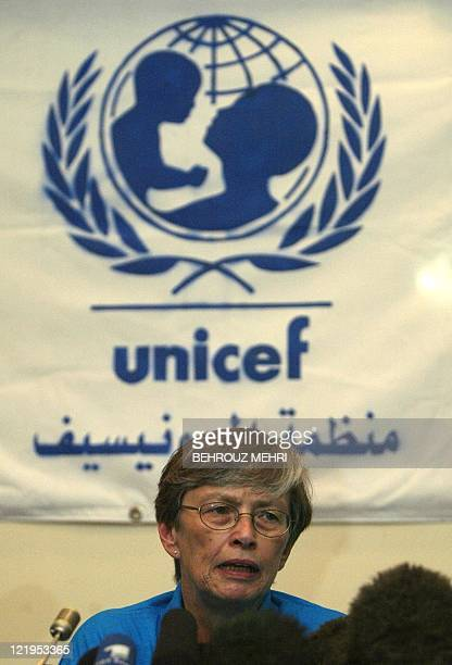 Carol Bellamy head of the United Nations Children's Fund gives a press conference in Baghdad 18 May 2003 calling for a quick return to school for...