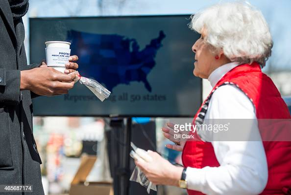 Carol Berman of West Palm Beach Fla speaks with pedestrians about the need for policymakers to protect Medicare Advantage benefits during the...